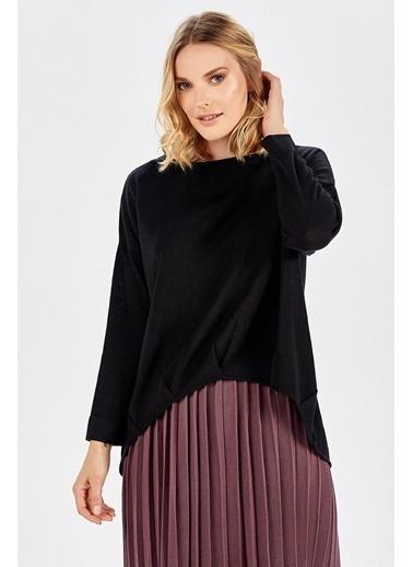 Peraluna Peraluna Ön Ve Arka Pile Detaylı Siyah Salaş Triko Kadın Bluz Siyah